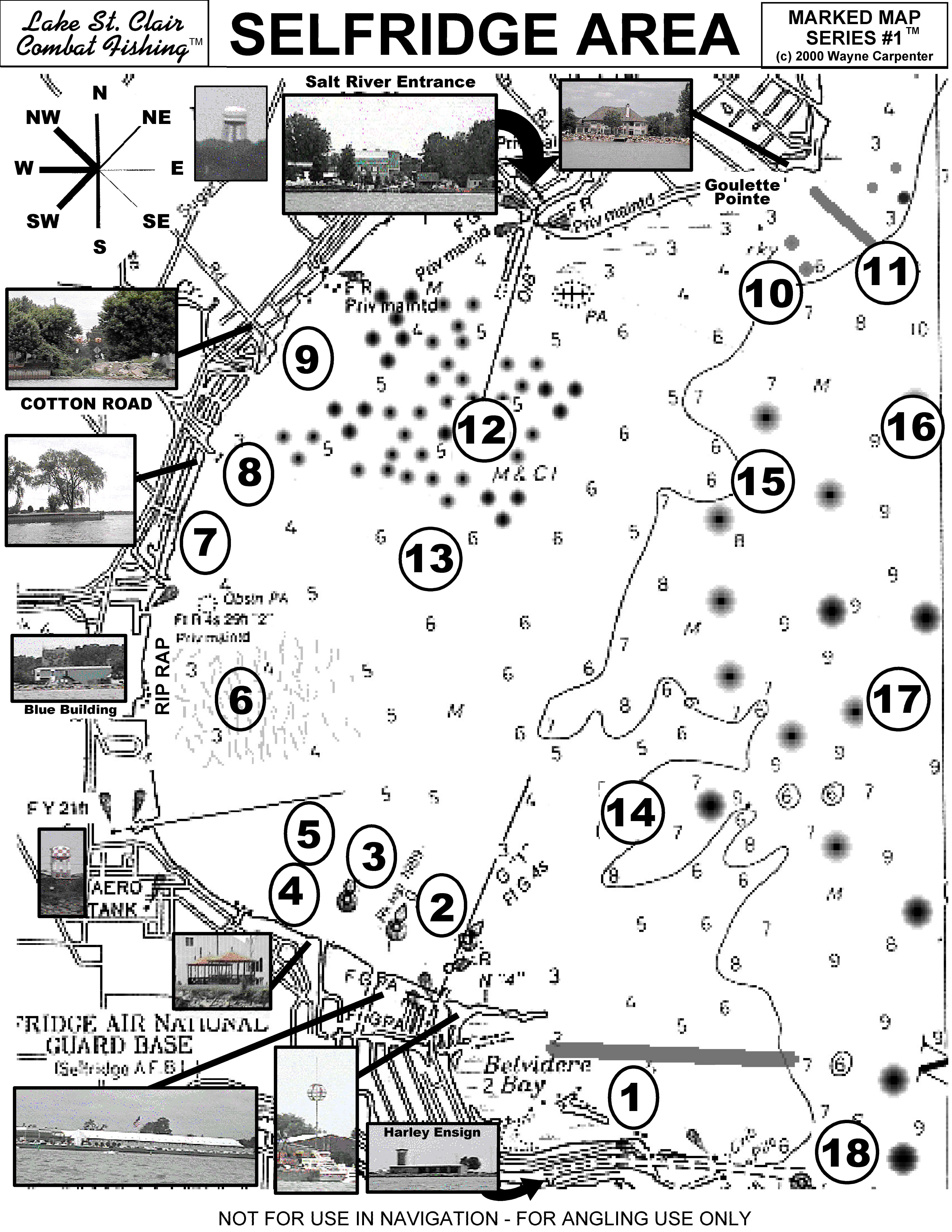 lake st clair fishing map Lake St Clair Marked Maps Series 1 2 Capt Wayne Carpenter S lake st clair fishing map