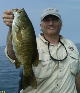 "This smallmouth at four pounds or better was caught on a 5"" St. Clair Goby NFT"